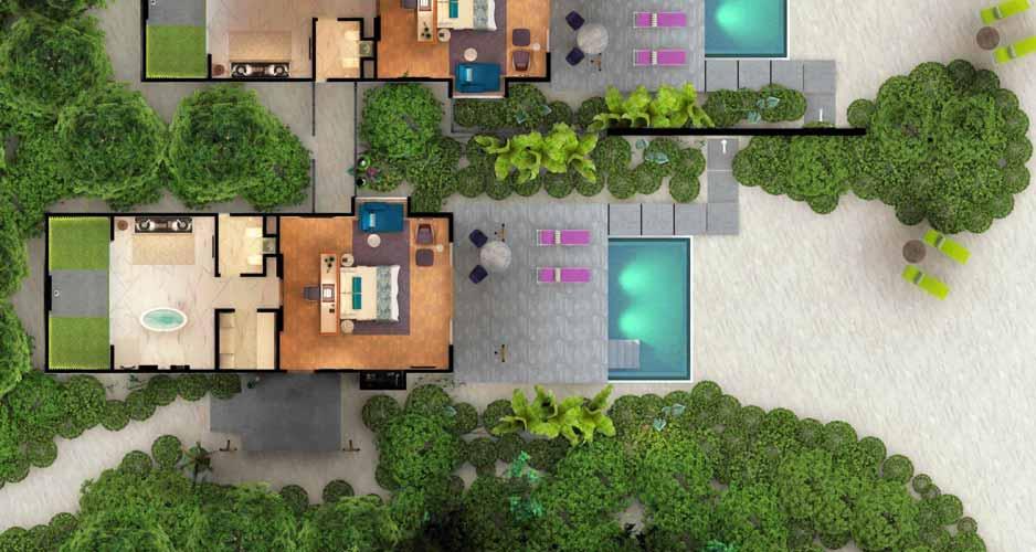 Beach Villa with Pool map